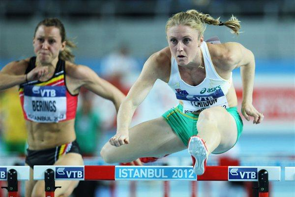 Sally Pearson of Australia (R) and Eline Berings of Belgium compete in the Women's 60 Metres Hurdles first round during day one - WIC Istanbul (Getty Images)