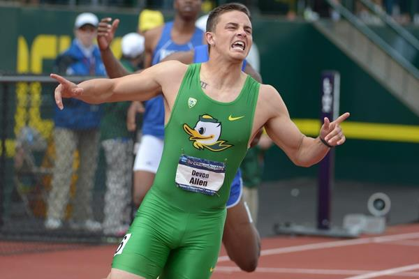 Devon Allen winning the 110m hurdles at the 2014 NCAA Championships (Kirby Lee)