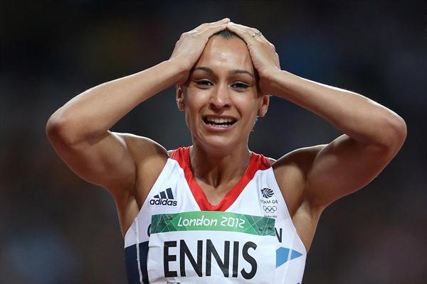 Jessica Ennis of Great Britain celebrates winning gold in the Women's Heptathlon on Day 8 of the London 2012 Olympic Games at Olympic Stadium on August 4, 2012 (Getty Images)