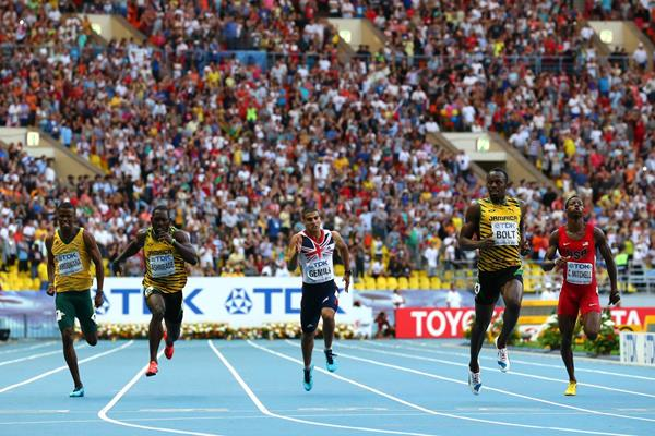 Usain Bolt in the men's 200m final at the 2013 IAAF World Championships in Moscow (Getty Images)