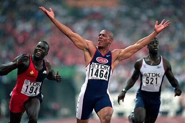 Maurice Greene winning the World 100m gold in Seville (Getty Images)