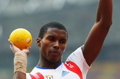 Leonel Suarez of Cuba in the decathlon shot, setting his third PB of the day (Getty Images)