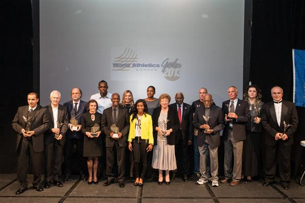The 2013 Hall of Fame inductees with the World Athletes of the Year (Philippe Fitte)