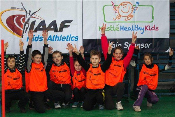 Participants at an IAAF/Nestlé Kids event in Donetsk, Ukraine (Organisers)