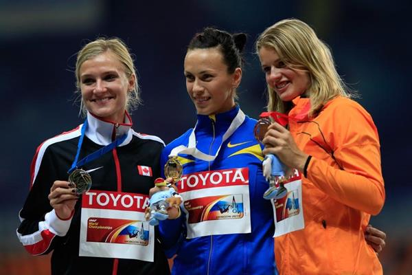 Womens Heptathlon Medal Ceremony at the IAAFWorld Championships Moscow 2013 (Getty Images)