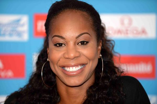 Sanya Richards-Ross ahead of the 2014 Diamond League meeting in Paris (Jiro Mochizuki)