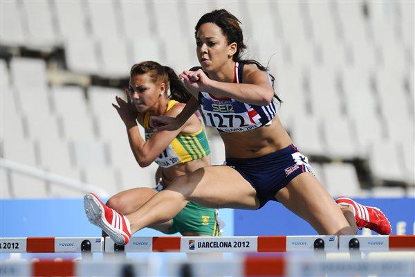 Katarina Johnson-Thompson of Great Britain competes on the Women's 100 metres hurdles qualification heat on the day four of the 14th IAAF World Junior Championships in Barcelona on 13 July 2012 (Getty Images)