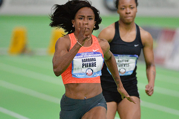 Barbara Pierre sprints to 60m victory at the US Indoor Championships (Kirby Lee)