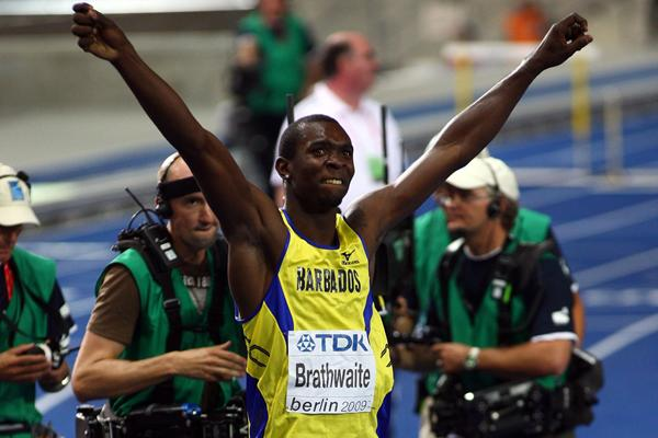 Newly crowned World Champion Ryan Brathwaite of Barbados celebrates his first global title at 110m Hurdles with a National Record of 13.14 (Getty Images)