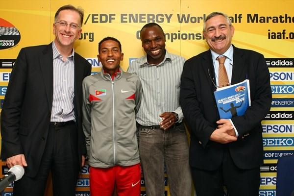 From left: UK Athletics Chairman Ed Warner, Zersenay Tadese, IAAF Ambassador Wilson Kipketer, and IAAF General Secretary Pierre Weiss at the pre-champs press conference in Birmingham (Getty Images)