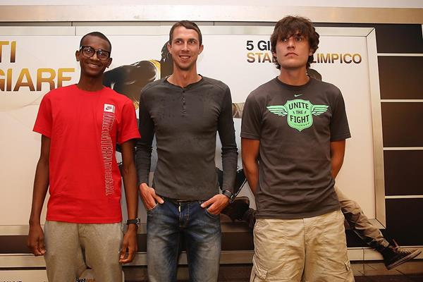 Mutaz Essa Barshim, Bogdan Bondarenko & Ivan Ukhov at the 2014 IAAF Diamond League press conference in Rome (Giancarlo Colombo)