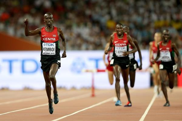Ezekiel Kemboi wins the steeplechase at the IAAF World Championships, Beijing 2015 (Getty Images)