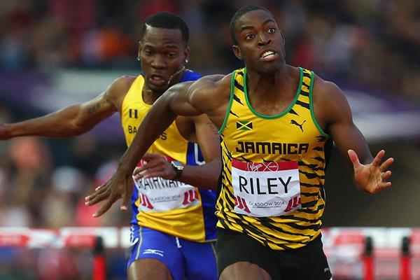 Andrew Riley wins the 110m hurdles at the Commonwealth Games (Getty Images)