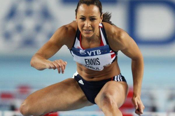 Jessica Ennis competes in the pentathlon 60m hurdles at the 2012 IAAF World Indoor Championships (Getty Images)