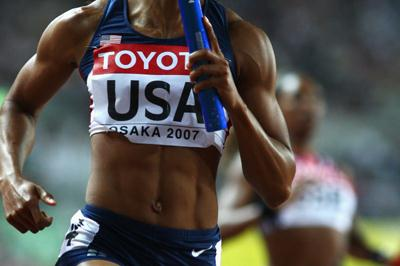 Torri Edwards of USA during the Women's 4x100m Relay Final (Getty Images)