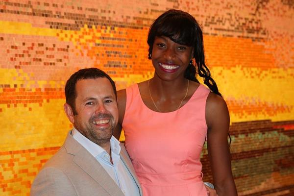 Spencer Nel, adidas Head of Global Sports Marketing Running/Track and Field & Shaunae Miller (Claude Bryan)