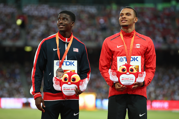 Trayvon Bromell and Andre DeGrasse on the podium ()