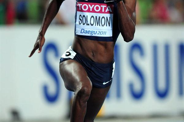Shalonda Solomon of United States competes in the women's 200 metres semi finals during day six (Getty Images)