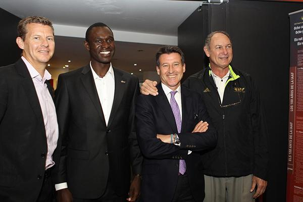 Steve Cram, David Rudisha, Sebastian Coe and Alberto Juantorena at the IAAF Centenary Historic Exhibition (Giancarlo Colombo)