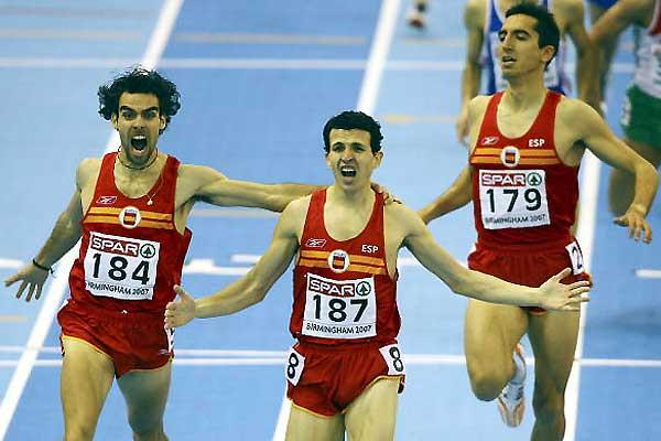 1500m- Juan Carlos Higuero (187), Sergio Gallarado (184), Arturo Casada (179) - Spanish sweep 1500m podium in 2007 European Indoor Champs (Getty Images)
