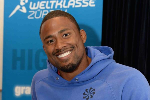 David Oliver at the pre-event press conference for the 2013 IAAF Diamond League meeting in Zurich (Jiro Mochizuki)