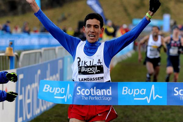 Ayad Lamdassem winning the 8Km team race in Edinburgh (Mark Shearman)
