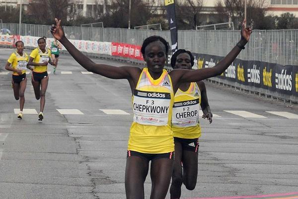 Caroline Chepkwony wins at the 2014 Rome-Ostia Half Marathon (Organisers)