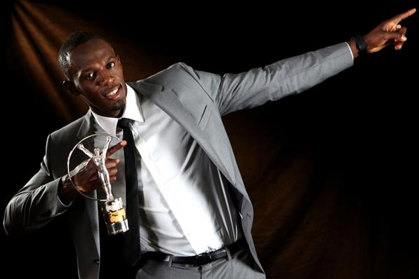 Usain Bolt with his 2013 Laureus World Sportsman of the Year award (Getty Images)