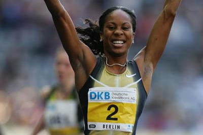 A delighted Sanya Richards celebrates winning in Berlin (Getty Images)