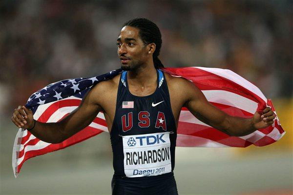 Jason Richardson of the USA celebrates after the men's 110m Hurdles final (Getty Images)