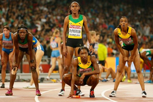 The victorious Jamaican 4x400m team at the IAAF World Championships, Beijing 2015 (Getty Images)
