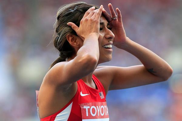 Brenda Martinez in disbelief after taking the bronze medal in the 800m at the 2013 IAAF World Championships (Getty Images)