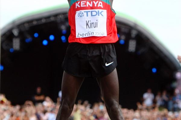 Kenya's Abel Kirui of Kenya jumps up and down in celebration after winning the IAAF World Championship Marathon title (Getty Images)