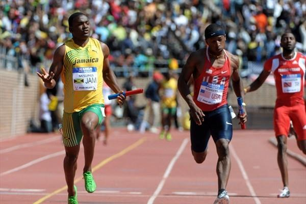 Steve Mullings anchors Jamaica to victory in the 4x100m Relay at Penn (Kirby Lee)