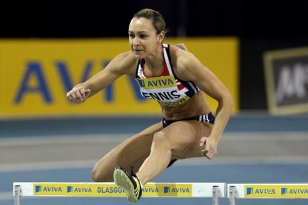 Jessica Ennis (GBR) hurdling in Glasgow where she beat the national 60m Hurdles record (Getty Images)