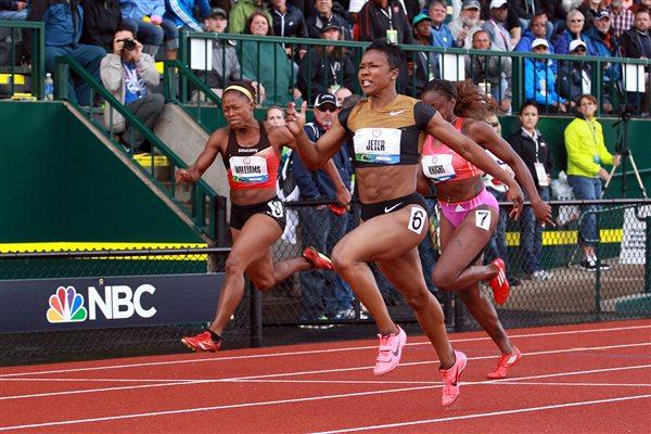Carmelita Jeter powers to the US 100m title in Eugene (Getty Images)