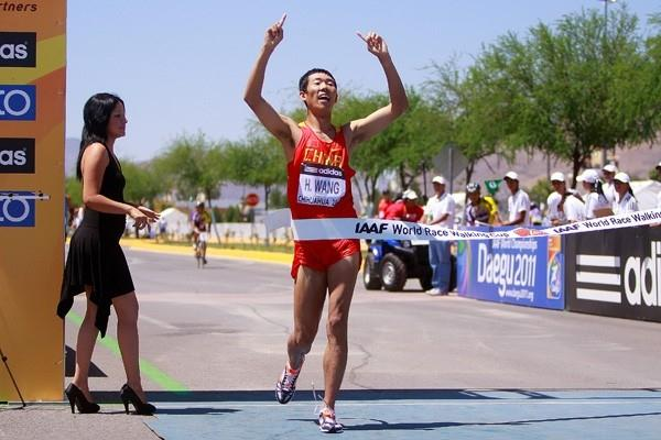 Hao Wang of China wins the men's 20km race in Chihuahua (Getty Images)