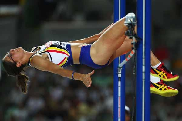 Tia Hellebaut of Belgium during the High Jump Final (Getty Images)