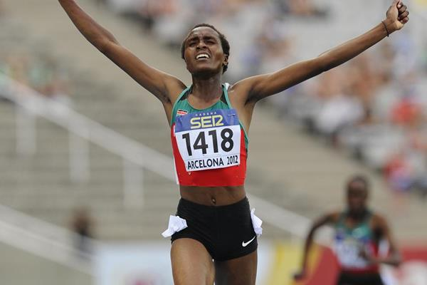 Daisy Jepkemei of Kenya wins the gold medal on the Women's 3000 metre Steepechase Final on the day three of the 14th IAAF World Junior Championships in Barcelona on 12 July 2102 (Getty Images)