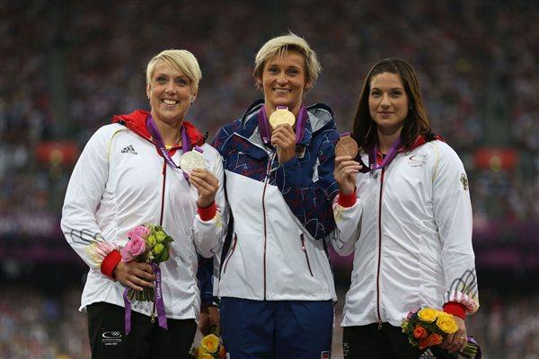 (L-R) Silver medalist Christina Obergfoll of Germany, gold medalist Barbora Spotakova of Czech Republic and bronze medalist Linda Stahl of Germany pose on the podium during the medal ceremony for the Women's Javelin Throw on Day 14 of the London 2012 Olympic Games at Olympic Stadium on August 10, 2012  (Getty Images)