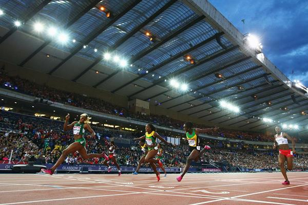 Blessing Okagbare wins the Commonwealth 100m title (Getty Images)