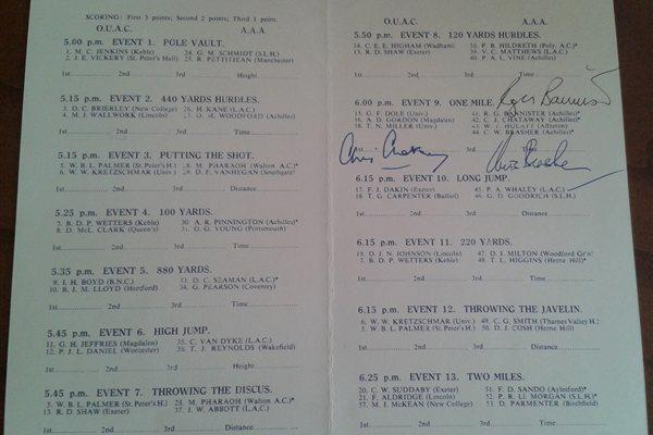 Autographed meeting programme - the first sub-4 minute mile (Courtesy Chris Turner)