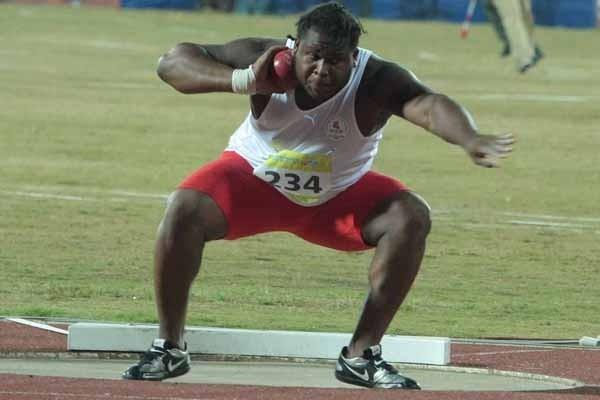 Curtis Griffith-Parker of England sets an 18.56 Commonwealth Youth Games record in the Shot Put in Pune (IAAF Correspondent)
