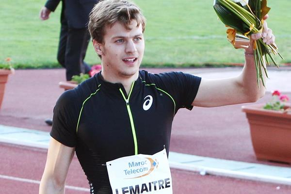 Christophe Lemaitre of France after winning the 100m in Rabat (Idrissi Mohsine)