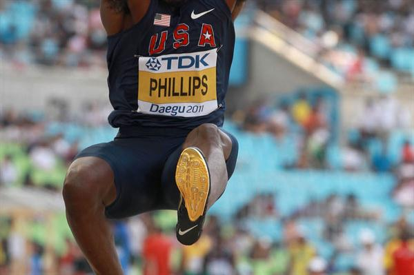 Dwight Phillips of United States competes in the men's long jump qualification round during day six (Getty Images)