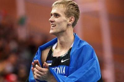 Estonia's Mikk Pahapill on his victory lap after winning the heptathlon with 6362, having set PBs in every event (Getty Images)