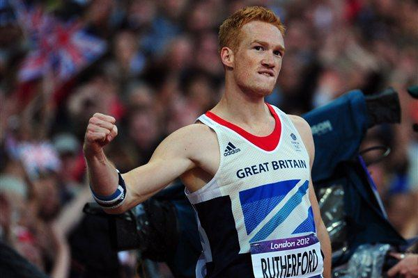 Greg Rutherford of Great Britain celebrates a jump in the Men's Long Jump Final on Day 8 of the London 2012 Olympic Games at Olympic Stadium on August 4, 2012 (Getty Images)