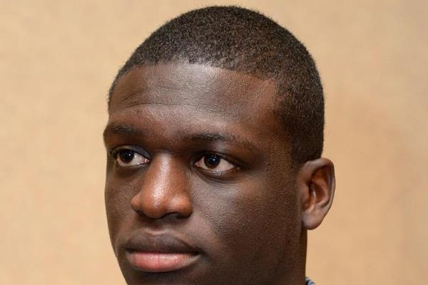 Kirani James at the press conference ahead of the 2013 IAAF Diamond League meeting in Eugene (Kirby Lee)