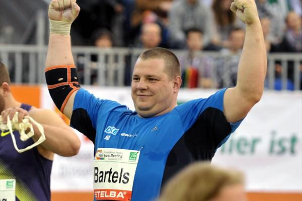 Ralf Bartels celebrates 20.91m meet record at the PSD Bank Meeting in Düsseldorf (BENEFOTO)