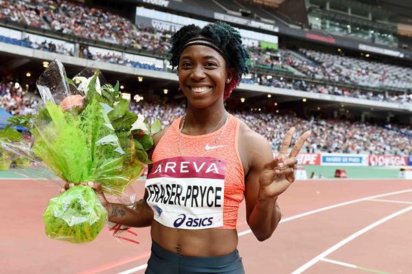 Shelly-Ann Fraser-Pryce at the 2015 IAAF Diamond League meeting in Paris (Jiro Mochizuki)